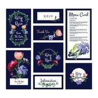 Wedding cards invitation menu banners template with golden frames flowers plants vector