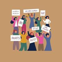 Mujer protesta personajes femeninos jóvenes con pancartas acciones políticas multitud de personas vector