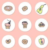 Instagram story highlight icons set of pastries and fruits. Logo design for cafes and bakeries. Hand drawn vector illustration.