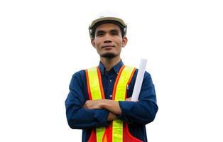 Trabajador ingeniero de construcción de arquitectura de ingeniería sobre fondo blanco. foto
