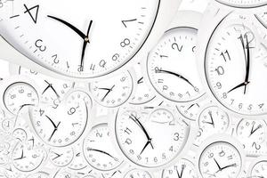 Droste effect background with infinite clock spiral. Abstract design for concepts related to time. photo