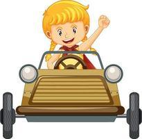 Una niña conduciendo un mini coche de juguete sobre fondo blanco. vector