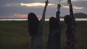 Asian woman celebrates with friends camping in nature having fun together drinking beer and clinking glasses. video