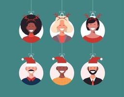 Christmas balls with cute person character man in santa hat and woman in deer horns. Merry christmas and happy new year greeting card banner Cartoon winter holidays set vector