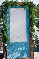 Wedding event outdoor decoration setup, blue screen, copy space photo