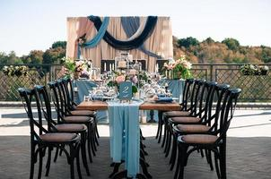 Wedding event outdoor decoration setup, summer time photo