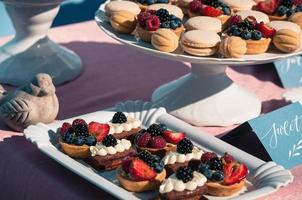 Delicious sweet buffet with cupcakes, macaroons, other desserts photo