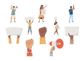 five activists protesting vector