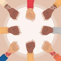 interracial activists hands vector