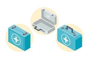 three first aid kits vector