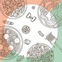 patrón de pastas italianas vector