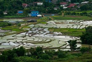 High view of rice terraces Mae Chaem, Chiang Mai, Northern Thailand photo