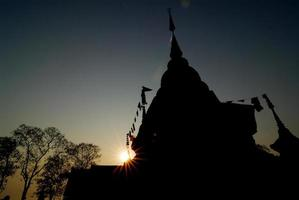 silhouette Wat Chalong TEMPLE in Phuket thailand photo
