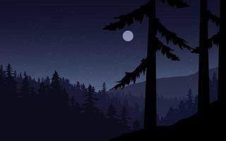 Pine Forest Night Landscape with Moon vector