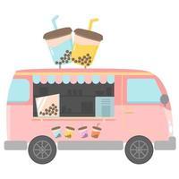 bubble tea food truck vector design
