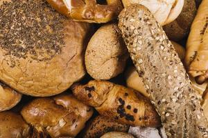 overhead view freshly baked bread photo