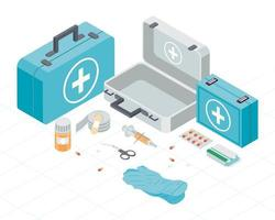 kits and first aid icons vector