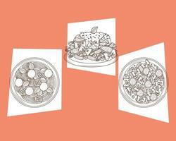 tres platos de pasta italiana vector