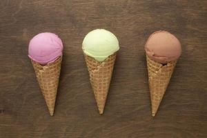 ice cream cones with flavour table photo