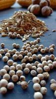 Photo of some cooking ingredients such as white pepper, pepper, nutmeg, cloves on black background