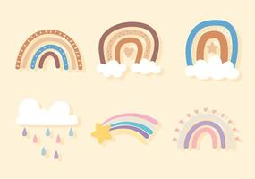 rainbow clouds rain vector