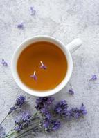 Cup of lavender tea photo
