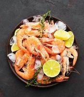 Shrimps served on a plate photo
