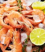 Shrimps as a food background photo