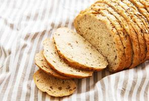 Top view of sliced bread photo