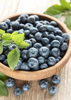 Blueberries on wooden background photo