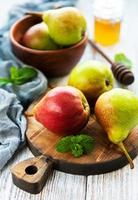 Pears on a board photo