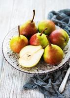 Fresh pears on a table photo