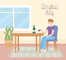 singles day, guy drinking wine vector