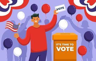 la gente feliz votó por las elecciones generales de los estados unidos vector