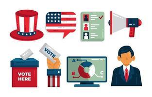 conjunto de iconos de elecciones generales de estados unidos vector