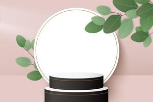 cylinder wood podium in black background with leaves vector