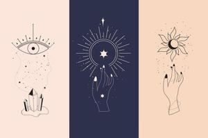 Magic diamonds and woman hands with moon crescent in boho linear style vector