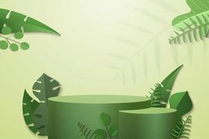 cylinder podium in green background with green plant leaves vector