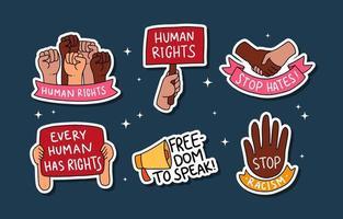 colección de pegatinas de derechos humanos dibujadas a mano vector