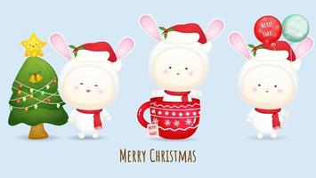 Cute baby wearing santa hat for merry christmas illustration set with different poses Premium Vector