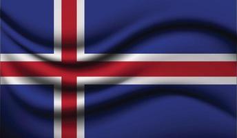 Iceland Realistic waving Flag Design vector