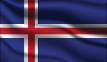 Iceland Realistic Modern Flag Design vector