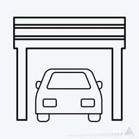 Vector Graphic of Car in Garage - Line Style