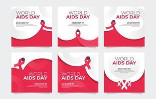 publicación en las redes sociales del día mundial del sida vector