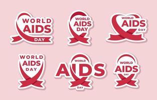 conjunto de pegatinas del día mundial del sida vector