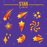 9 Bright Shooting Star Element vector