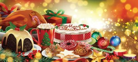Christmas Feast and Dessert Background Concept vector
