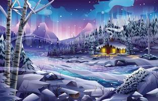 cabaña de madera en el bosque con la aurora boreal y el río en el paisaje nocturno vector
