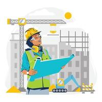 Woman Engineer Checking Blueprint in Construction Site Concept vector