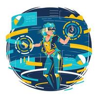 Woman Operating VR Technology vector